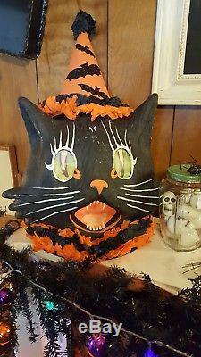 Huge Vintage Halloween Style Bethany Lowe Scaredy Sassy Black Cat Lantern