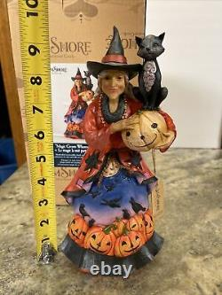 JIM SHORE 10 WITCH BLACK CAT Crows Pumpkin -MAGIC GROWS WHEREVER SHE GOES