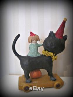 JOANNA BOLTON HANDMADE Halloween Art Doll PARTY CAT & GIRL -Paper Mache Signed