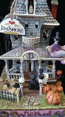 Jim Shore Deluxe Wicked Haunted House Lights Sound Retired Boxed