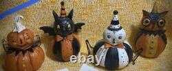 Johanna Parker Halloween Pumpkin, Owl, Spider & Bat 4.5 x 3 Resin Shelf Sitters