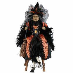 Karen Didion 26 Traditional Spider Witch Amber Sitting Halloween Doll Decor