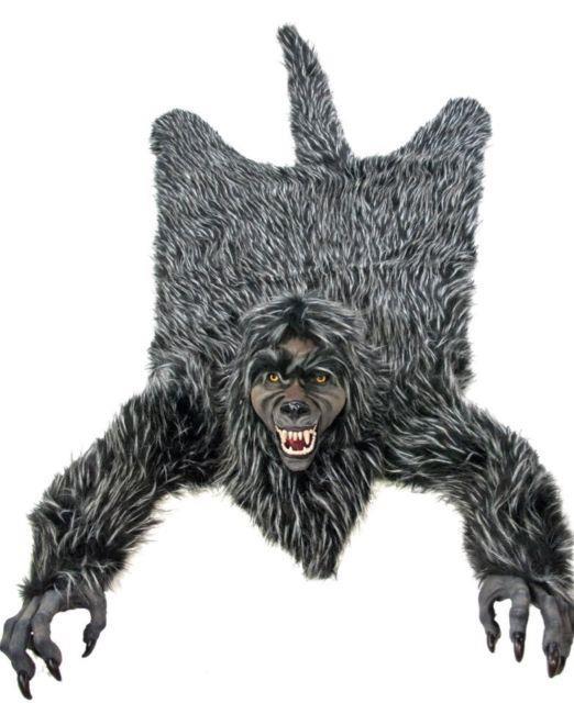 Katherine's Collection Family Portrait Wolf Fur Throw Halloween New