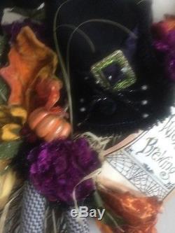 Katherine's Collection Grandin Road Halloween Witch Hat Broom Door Wall Hanging