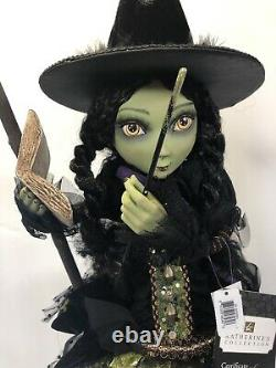 Katherine's Collection Halloween Doll 30 YOUNG WITCH ON BROOM SPELL BOOK