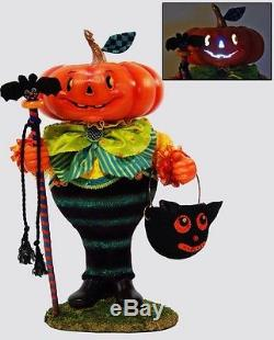 Katherine's Collection Jack O'mallow Pumpkin Light Up Halloween Display Figure