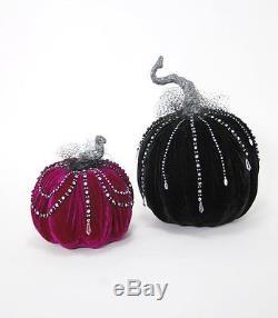 Katherine's Collection Midnight Magic 9 and 15 Velvet Jeweled Pumpkin Display