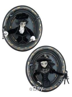 Katherine's Collection Pair Of Gothic Halloween Boy/Girl 3D Oval Frames NEW