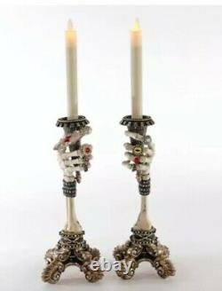 Katherine's Collection Pair Of Skeleton Hand Candlesticks 28-928484 NEW 2020