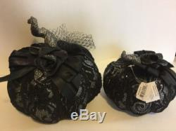 Katherine's Collection Set Of 2 Midnight Magic 7 & 9 Lace Pumpkins Display NEW