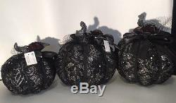 Katherine's Collection Set Of 3 Midnight Magic Beads & Lace Pumpkin Display