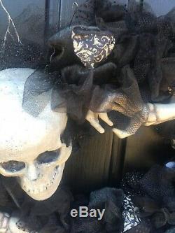 Katherines Collection Grandin Road Skeleton Wreath Halloween Decor NEW 28-30316