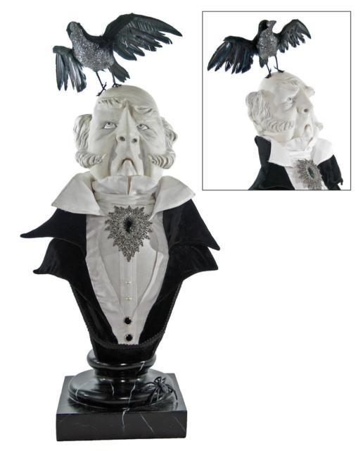 Katherines Collection Large Halloween Bust Haunted Butler W Raven 28-628045