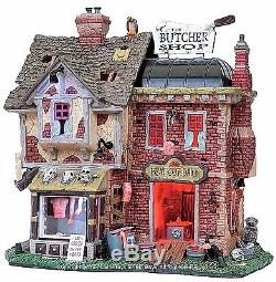 Lemax 85663 THE BUTCHER SHOP Spooky Town Lighted Building Halloween Decor I