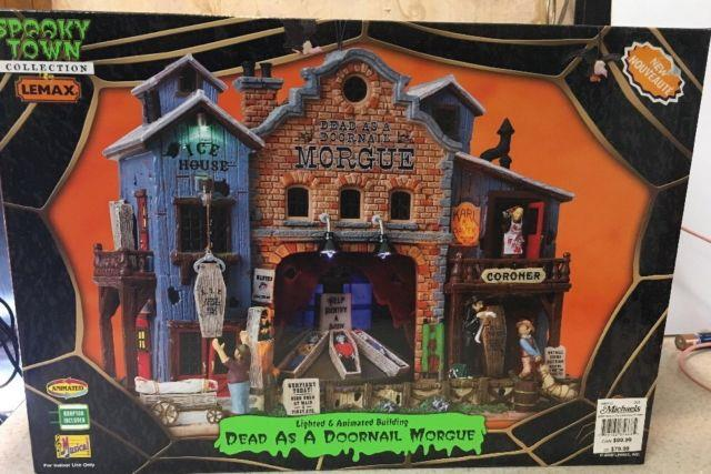 Lemax 85668 Dead As A Doornail Morgue Spooky Town Animated Sights & Sounds New
