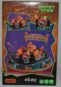 Lemax Halloween Tilt N Hurl Spooky Town Carnival Pumpkin Ride Lights Sounds New