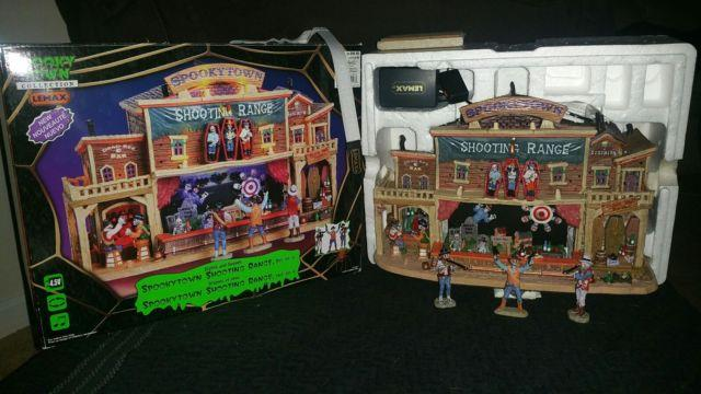 Lemax Spooky Town 2010 Shooting Range In Mint Condition Complete 4 Piece Set