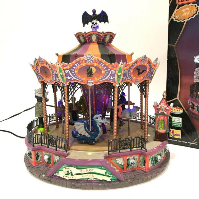 Lemax Spooky Town Spooky Scare-ousel With Box Carousel Lights Animation Sound