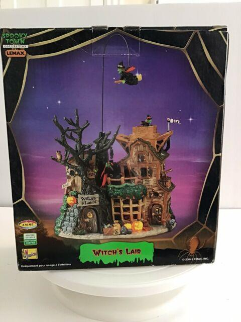 Lemax Spooky Town Witch's Lair Retired 2004 Halloween Sound Animation With Box