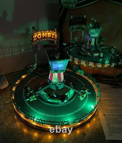 Lemax Spooky Town'Zombie Plane Ride Animated Lighted Carnival Ride Hard To Find