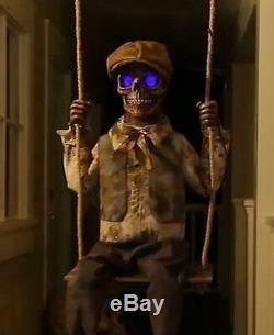 LifeSize Animated Swinging Skeleton Boy Halloween Prop Haunted Evil Spirit Decor