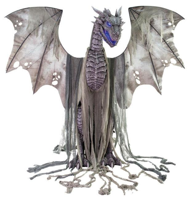 Life Size 7 Ft Winter Dragon Animated Halloween Prop Haunted House Decor Thrones