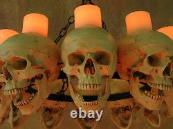 Life-Size Skull Chandelier with 12 Skulls with Wax Candles, Human Skeletons, NEW