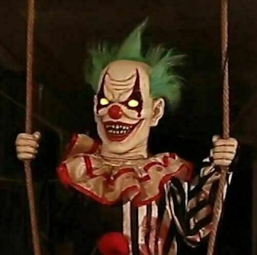 Life Size Swinging Chuckles Clown Animated Halloween Prop Haunted Decor Outdoor