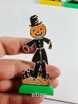 Lot (3) Vintage Halloween Rosbro Rosen Lollipop Holders scarecrow black cat owl