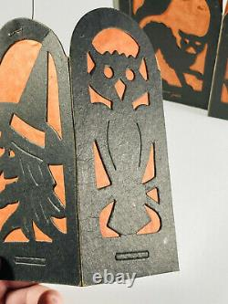 Lot (3) Vintage halloween Beistle Diecut Paper Lanterns Black Cat Witch Owl
