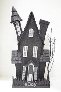 Midwest Light Up Glitter Haunted House Facade Halloween Decoration Black &