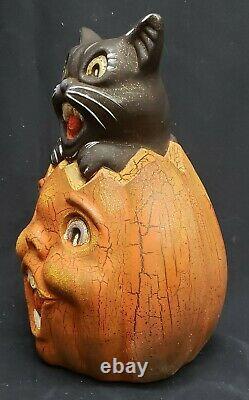 Morgue Sale Black Cat on Crackle-Look Pumpkin Terra Cotta Figurine. Retired Mint