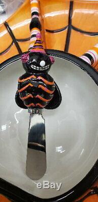 Morgue Sale Halloween Glitterville Spider Go Round Chip & Dip RETIRED 2006 MINT