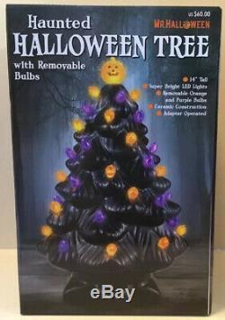 Mr Halloween Haunted Halloween Tree Ceramic Light Up Tree Brand New