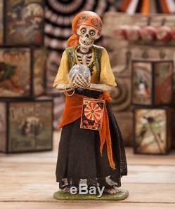 NEW Bethany Lowe Halloween Skeleton Gypsy Statue
