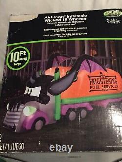 NEW GEMMY 10' Lighted Halloween Airblown Inflatable 18 Wheeler Tractor Trailer