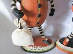 NEW Two Primitive Folk Art Hand Painted Halloween Pumpkin & Black Cat Duo