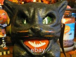NEW Vintage & Scary Halloween Black Cat on Fence, Paper Mache Lantern 7 1/4