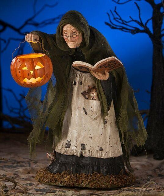 New Bethany Lowe Halloween Storybook Witch With Jack O Lantern 12.5 Td7635