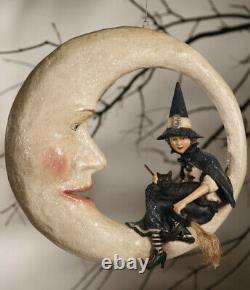 New Bethany Lowe Halloween Witch On Moon TG9807 16 X 16 X 5