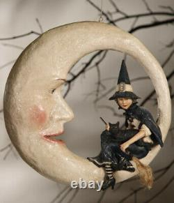 New Bethany Lowe Halloween Witch On Moon TG9807 16 x 16