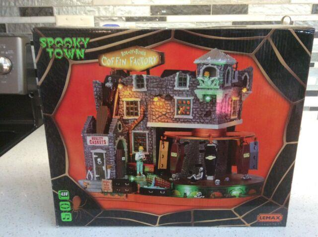 New Halloween Lemax Spooky Town Box Of Bones Coffin Factory