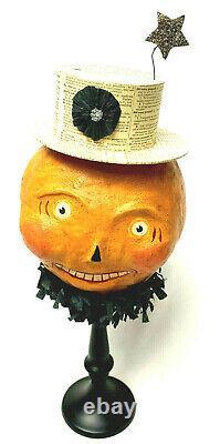 Nicol Sayre Halloween Jack O Lantern Head Candy Container Top Hat