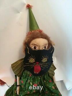 OOAK Folk Art Halloween Handmade Painted Face Pretty Witch Doll Black Cat Mask