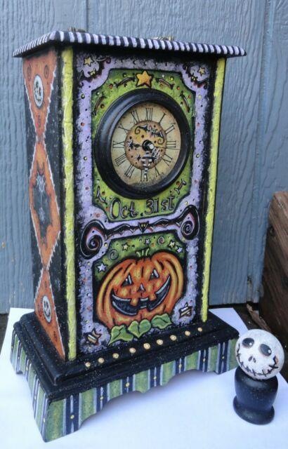 Ooak Hand Painted Halloween Clock With Skelly Monster New Creation By Me