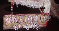 OOAK Handcrafted Paper Mache Halloween WELCOME Prop. Apple Lore Ln