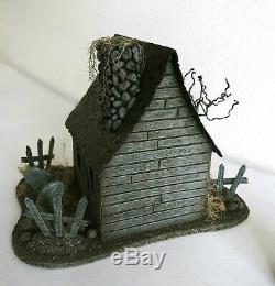 OOAK Lighted 6x8 Halloween HAUNTED HOUSE Edgar Allan POE Tombstones Putz SiGNED