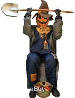 PRE-ORDER! LifeSize Animated JACK SCARECROW w CHAIR Haunted Halloween Prop Decor