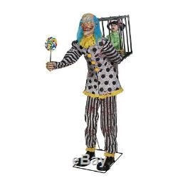 Pre Order-halloween Animated Life Size Mr Happy Clown Caged Kid Prop Decoration