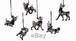 Puppy Love Day Of The Dead Dog Ornaments Halloween Set of 6 Skeletons New